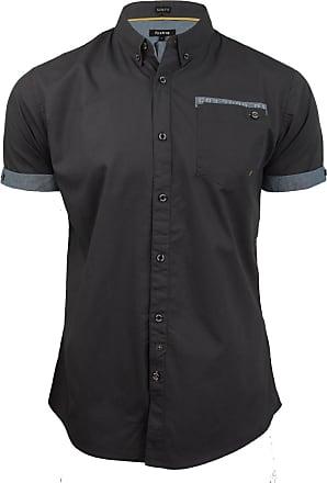 Firetrap Mens Poplin Shirt Lanover Short Sleeved - Slim Fit (Nine Iron) L