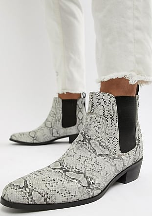 House Of Hounds Botas de estilo cubano de cuero con estampado de serpiente en blanco Onyx de House Of Hounds-Beis
