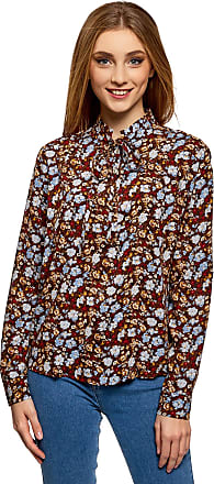 oodji Womens Viscose Blouse with Drawstring Collar, Multicoloured, UK 10 / EU 40 / M