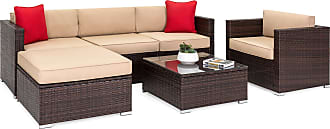 Best Choice Products 6-Piece Sectional Wicker Sofa Set w/ Accent Chair, Glass Top Table - Brown