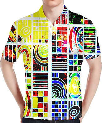 Hugs Idea Personalize Graffiti Mens Short Shirt Modern Fit Slim Golf Sportshirt T S-Shirt Casual Tee