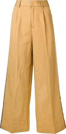 Forte_Forte Calça pantacourt com recorte lateral - Amarelo