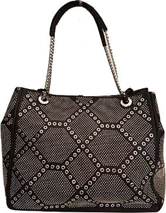 Ermanno Scervino SHOPPING LARGE CODE 12400099, SHOULDER BAG WITH CHAIN HANDLES, IN FAUX LEATHER WITH METAL WORKING ON THE FRONT AND SIDE, BLACK ECOLEATHER REVER, ONE S