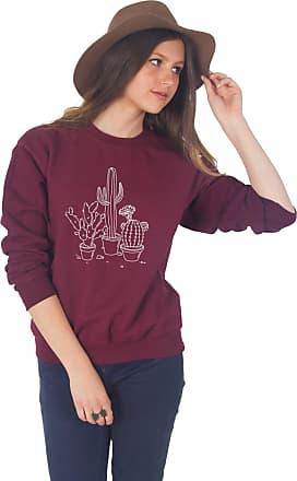 Sanfran Clothing Sanfran - Cactus Drawing Cute Boho Bohemian Plants Jumper Sweater - Medium/Maroon