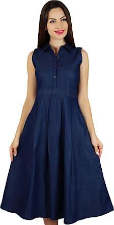 Bimba Womens Sleeveless Pleated A-line Dress with Pockets Casual Denim Shift Shirt Dress
