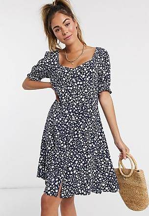 Pimkie Marinblå, blommig miniklänning med knappar och puffärm