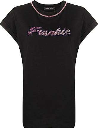 Frankie Morello Camiseta gola careca com aplicação de cristais - Preto