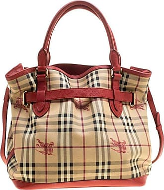 09995ef65184 Burberry Beige red Haymarket Check Pvc And Leather Medium Golderton Tote