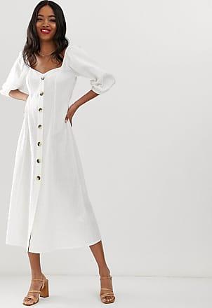 Asos Maxi-jurk met knoopsluiting van seersucker-Wit
