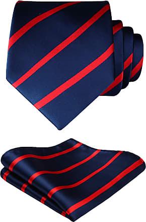 Hisdern Extra Long Polka Dots Tie Handkerchief Mens Necktie & Pocket Square Set, One Size, Navy Blue & Red