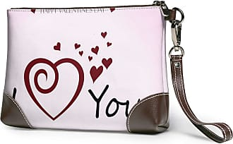 GLGFashion Womens Leather Wristlet Clutch Wallet Happy Valentine Day Storage Purse With Strap Zipper Pouch