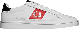 Fred Perry Deuce Mens White/Red/Navy Leather Trainers-UK 11 / EU 46