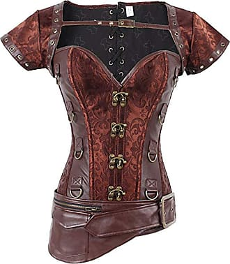 FeelinGirl Womens Cool Warrior Design Steel Boned Brocade Vintage Steampunk Bustiers Corsets, XL/28inch(Fit Natural Waist 29inch-30inch), Reddish-brown