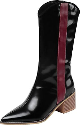 RAZAMAZA Shoes Women Fashion Block Heels Mid High Boots Pointed Toe Multicolor Mid Calf Boots Pull on Office Half Boots Black Size 34 Asian