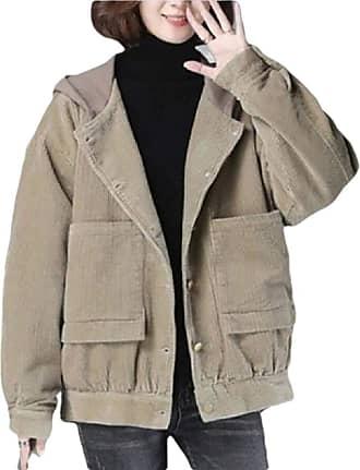 VITryst Womens Vintage Patchwork Long Sleeve Button Up Pockets Corduroy Jacket Outwear Hooded Coat,Khaki,X-Large