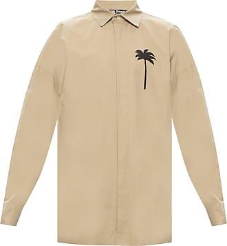 Palm Angels Printed Shirt Mens Beige