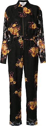 We Are Kindred Ibiza sunflower print boilersuit - Black