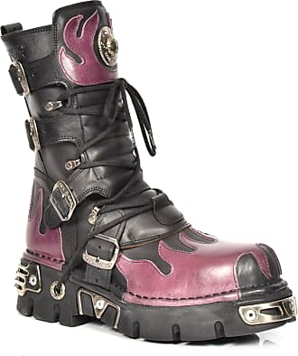 New Rock Womens Calf Length Purple Flame Boots M.591-S3 Black Leather Size EU 41
