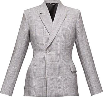 Balenciaga Prince Of Wales-check Wool Single-breasted Blazer - Womens - Grey