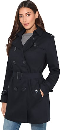 Krisp 4397-NVY-08: Double Breasted Trench Mac Coat Navy