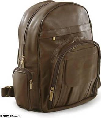 Novica Multi-pocket leather backpack, Brazilian Beige