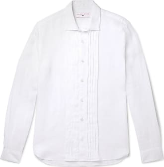 Orlebar Brown + 007 On Her Majestys Service Pleated Linen Shirt - White