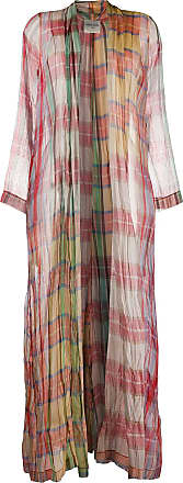 Forte_Forte checked silk long coat - PINK