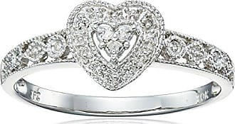 Amazon Collection 10k White Gold Diamond Heart Ring (0.03 cttw, I-J Color, I2-I3 Clarity), Size 8