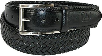 John Deere Mens Leather Braided Comfort Stretch Belt, Black 34
