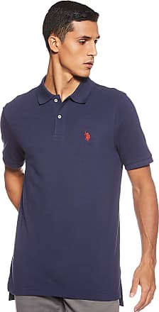 U.S.Polo Association Mens-Classic Polo Shirt Spread Collar Short Sleeve Polo Shirt - Blue - S