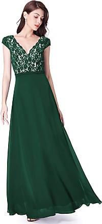 Ever-pretty Womens V Neck Floor Length Cap Sleeve Empire Waist Elegant Long Lace Chiffon Prom Dresses Dark Green 14UK