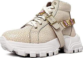 Damannu Shoes Tênis Chunky Mimi Cano Alto Craquelê Branco - Cor: Branco - Tamanho: 39