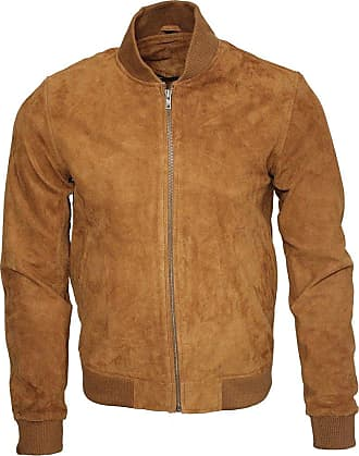 Infinity Mens Retro Tan Goat Suede Leather Bomber Varsity Jacket 4XL