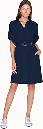 Akris Dress in Cotton with Shirt Collar and Belt
