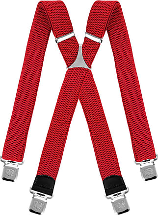 Decalen Mens braces wide adjustable and elastic suspenders X shape with a very strong clips Heavy duty (Red)