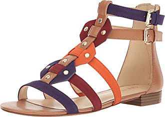 Nine West Womens Irvette Synthetic Gladiator Sandal, Dark Natural Multi, 5 M US