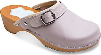 FUTURO FASHION Womens Healthy Natural Genuine Leather Wooden Sole Plain Clogs Unisex Colours Sizes 3-8 UK Beige