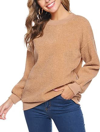 iClosam Womens Tops Round Neck Pullover Sweater Fluffy Pullover Sweatshirt Outwear Khaki