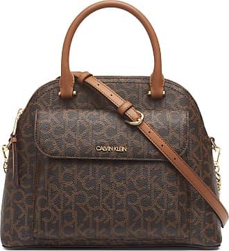 Calvin Klein Womens Chained Satchel, Brown/Khaki, One Size