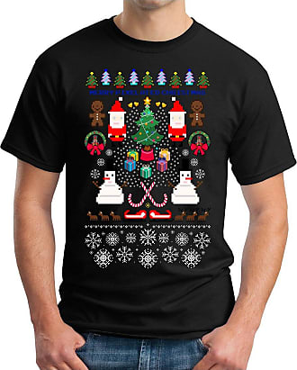 OM3 Pixel-Christmas - T-Shirt Retro Game Snowman Merry Xmas HO HO HO Christmas Tree, 5XL, Black