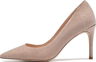 EDEFS Womens Pointy Toe Court Shoes High Heel Pumps Elegant Suede Shoes Nude EU45/UK10.5