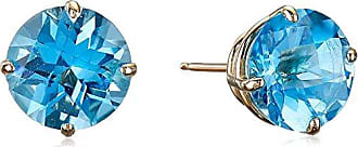 Amazon Collection 10k Yellow Gold Round Checkerboard Cut Blue Topaz Stud Earrings (8mm)