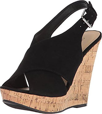 Chinese Laundry Womens MYYA Wedge Sandal, Black Suede, 6.5 M US