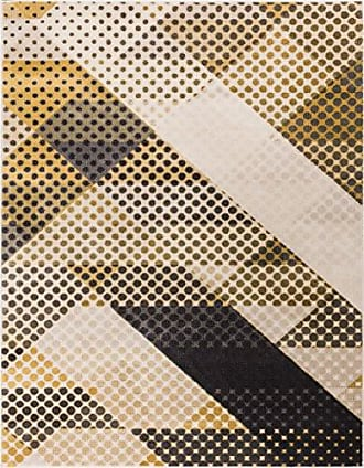 Well Woven LO-41-7 Mid-Century Abbey Modern Abstract Scrolls Yellow 710 x 106 Area Rug