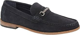 Roamers Dominic Mens Suede Slip On Moccasin Loafers Navy UK 11