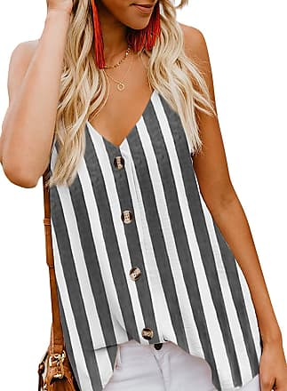 Yidarton Womens Summer Casual Loose V Neck Chiffon Button Down Spaghetti Strap Cami Vest Solid Color Floral Striped Tank Tops Sleeveless Shirt Blouse (Y-Black,
