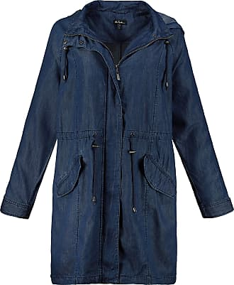 Ulla Popken Womens Plus Size Denim Look Hooded Parka Blue Denim 24/26 722040 92-50+