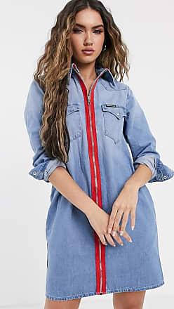 Calvin Klein Foundation - Vestito di jeans con fettuccia rossa con zip-Blu