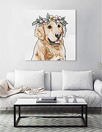 The Oliver Gal Artist Co. The Oliver Gal Artist Co. Animals Wall Art Canvas Prints Floral Crowned Golden Retriever Home Décor 36 x 36 Brown, Pink