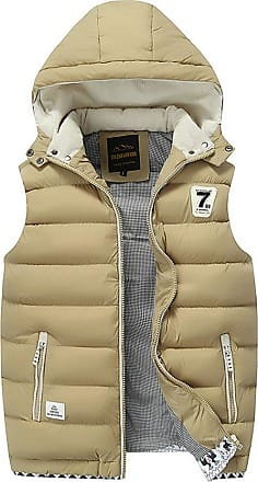 ZongSen Body Warmers for Mens Gilet Padded Jacket Coat Vest Lightweight Gilets with Inner Pockets Khaki XL